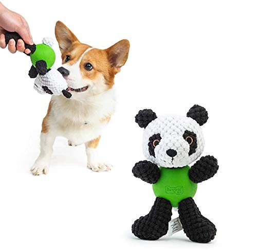 EETOYS Squeaky Plush Dog Toy Durable Small Dog Toys Low Stuffing Interactive Dog Plush Toys Squaker Puppy Chew Toys Reduces Boredom with Chew Guard (Small, Black White Panda)