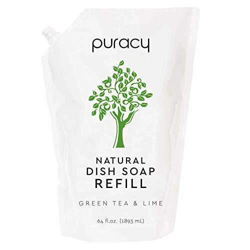Puracy Natural Dish Soap Refill, Green Tea & Lime, 64 Ounce, Hypoallergenic Non-Drying Liquid Detergent