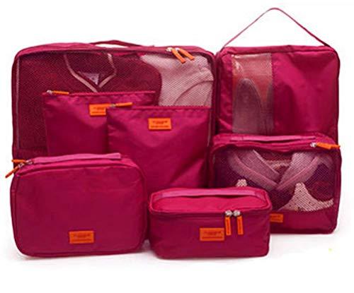 Cubos de Embalaje para Maleta, 7 PCS Organizadores de Embalaje de Viaje Impermeables Esenciales Set Oxford Cloth Organizador de Equipaje de Viaje Ropa Zapatos Cosméticos Artículos de Aseo Bo