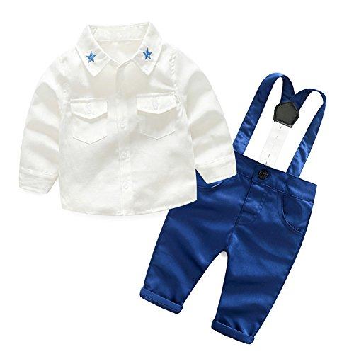 BOBORA Costumes de Bébé Garçons, Tenues de Mariage de Bebe Garcon Chemise avec Un Pantalon a Sangle 0-5Ans
