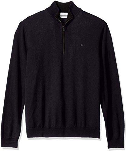 Calvin Klein Men's Merino Quarter Zip Sweater, Roma, Medium