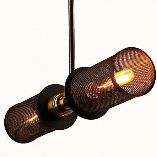 HUAXUE ZHXZHXMY Boutique Lighting - Pendiente de la luz Retro Industrial del Hierro Arte lámpara por un Dormitorio Clubhouse Bar Cafetería Sala de iluminación, Negro, 56X70CM