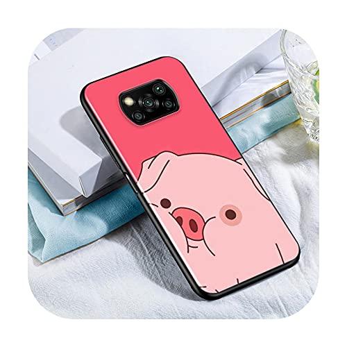 Phone cover Lindo Kawai Pig Para Xiaomi Poco X3 Nfc M3 M2 X2 F3 F2 Pro C3 F1 Mi Play Mix 3 A2 A1 6X 5X Negro Teléfono Case Style 12-Para Xiaomi 6X