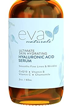 Eva Naturals Anti-Aging Hyaluronic Acid Serum For Face - Professional & Potent Hydrating Anti-Wrinkle Formula For Fine Line & Uneven Skin Tone - Contains Vitamin C B & E Paraben Free  2 Oz