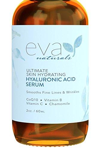 Eva Naturals Hyaluronsäure Gesichtsserum (59 ml, doppeltgroße Flasche) - Anti-Aging, Feuchtigkeitsspendendes Faltenserum mit Vitamin C, B