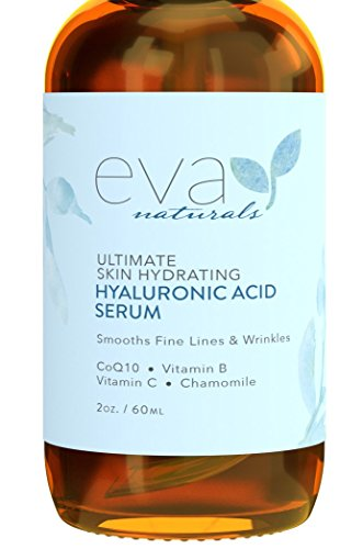 Eva Naturals Hyaluronic Acid Face Serum, Anti-Aging, Moisturizing Wrinkle Serum with Vitamin C, B