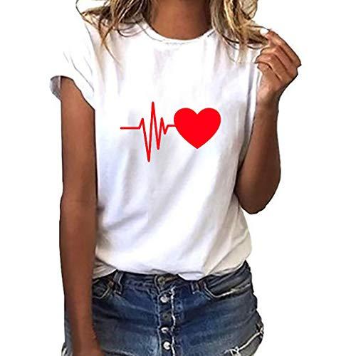 iHENGH Damen Top Bluse Bequem Lässig Mode T-Shirt Frühling Sommer Blusen Frauen Lose Oansatz Spitze der Art und Weisefrauen kurzärmliges Herz Druck(D, S)