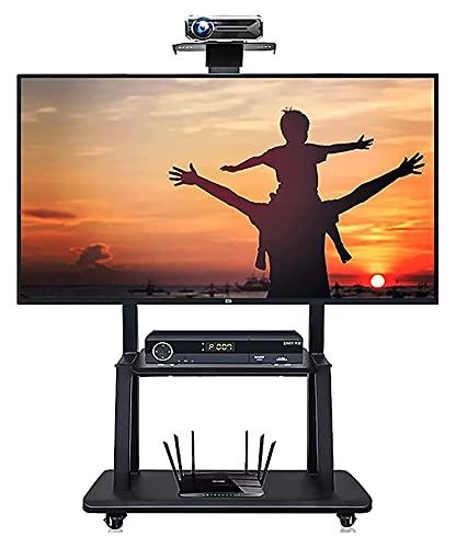 Piso universal TELEVISOR Stand, Black Mobile TELEVISOR Soporte para 50 pulgadas / 55 pulgadas / 60 pulgadas / 65 pulgadas / 70 pulgadas de altura ajustable Oficina de servicio, salas de juntas, rodill