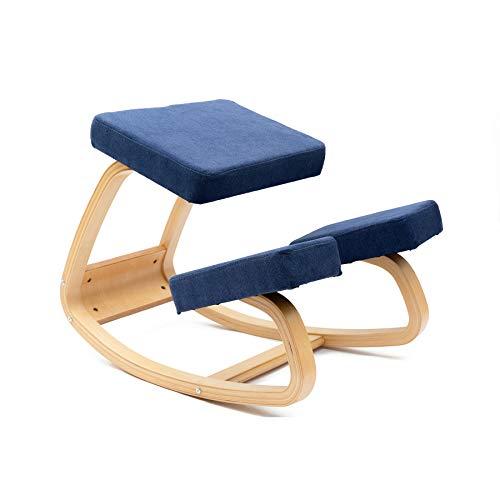 JZGORC Sedia ergonomica inginocchiatoio, sgabello a dondolo bilanciato in legno, sgabello inginocchiato per ufficio e casa, Tessuto (Blu)