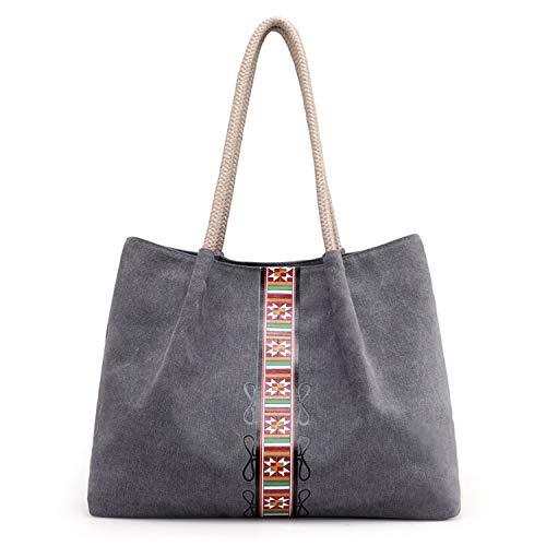 Canvas Top-Handle Handbag Tote Bag for Women, Grey Style Shoulder Bag