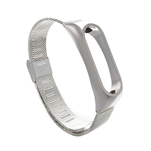 Forniture per orologi - Cinturino in metallo in acciaio inossidabile per orologio Xiaomi Mi Band 2 (argento)