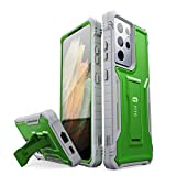 FITO for Samsung Galaxy S21 Ultra 5G Case, Dual Layer Shockproof Heavy Duty Case for Samsung S21 Ultra 5G Phone Built-in Kickstand, Without Screen Protector (Green, 6.8 inch)