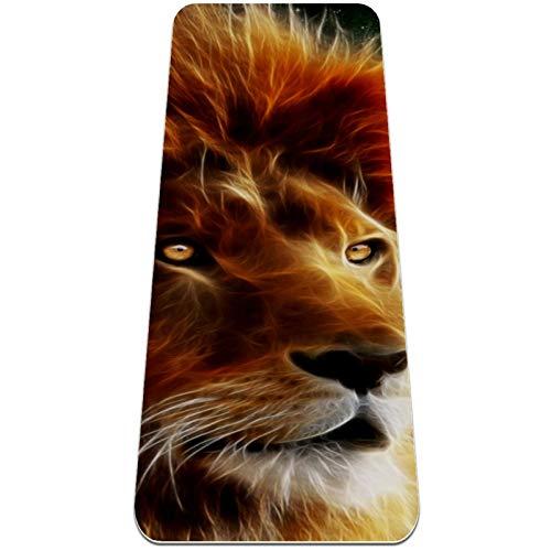 BestIdeas Esterilla de yoga animal león para yoga, pilates, ejercicio de suelo para hombres, mujeres, niñas, niños, principiantes, diseño antideslizante