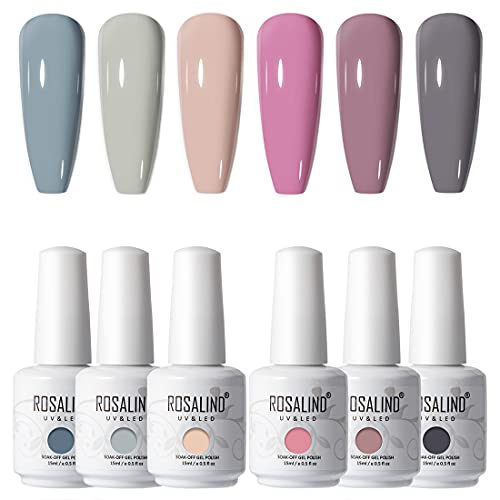 ROSALIND 15ml Vernis à Ongles Gels Semi-permanents Gris Color Nail Gel Lot Nude Vernis à...