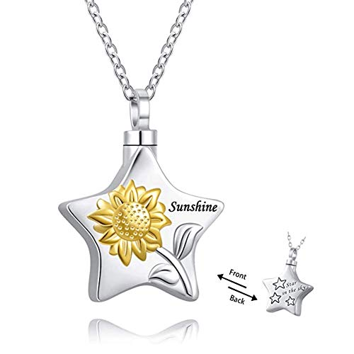 Lifequeen Jewellery Heart Always with me Menory Sunflower Star Urn Necklace for Ashes Cremation Keepsakes