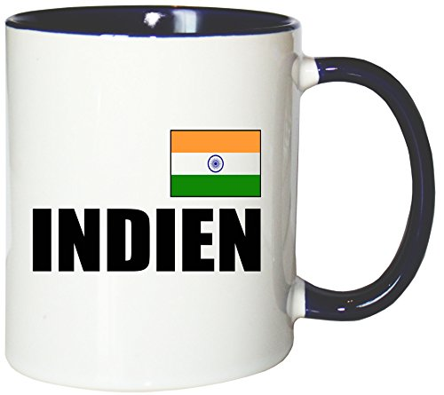 Mister Merchandise Kaffeetasse Indien Fahne Flag Teetasse Becher, Farbe: Weiß-Blau