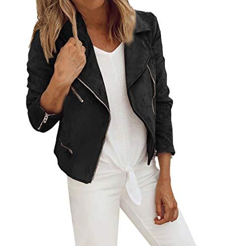 FRAUIT Damen Kurze Lederjacke Reißverschluss Kunstleder Damen Jacke mit Reißverschluss Motorradjacke Bikerjacke Übergangsjacke Basic Outwear