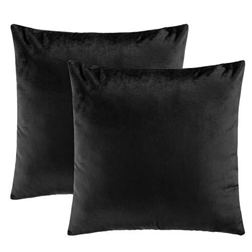 eletecpro, federa per cuscino 40 x 40 cm, set da 2 pezzi, in velluto con chiusura lampo nascosta, colore nero, cuscino decorativo per divano e terrazza, ufficio in grandi colori