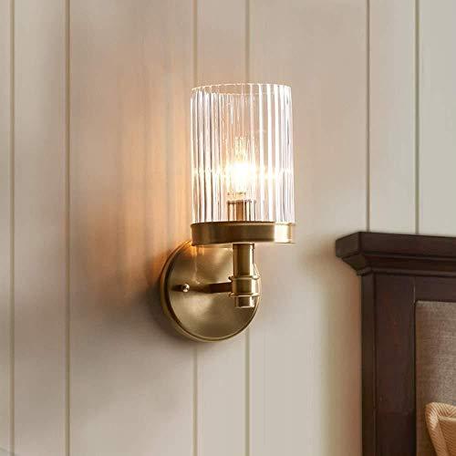 Sconce wandlamp helder alle koperen lampen woonkamer slaapkamer nachtkastje gang trap glas retro romantische enkele hoofd muur lamp 30 * 13 * 18cmM wandlampen