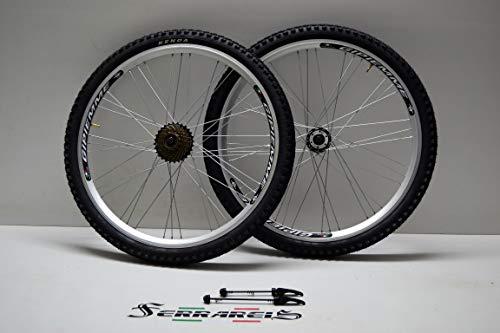 Cicli Ferrareis Cerchi o Ruote MTB Shimano Filetto BMX Ibrida 26 a Disco da 1 a 7v Neri in Alluminio