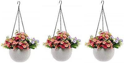Round Gamla Pot Flower Hanging Round Rattan Woven Plastic Flower Hanging Basket Beautiful Pot for Garden Balcony (3 Pcs, White)