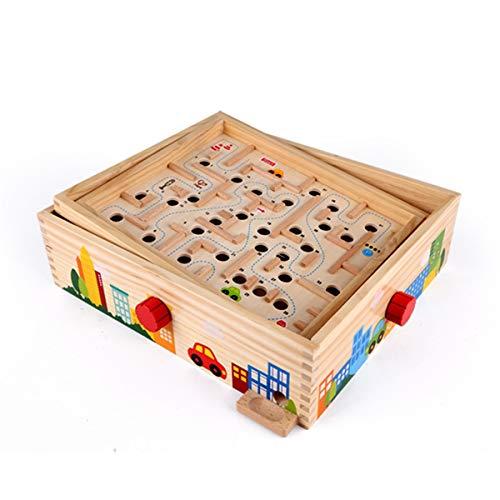 YzDnF Puzzle-Spiel Maze Racers Super Ball Labyrinth Kinder Track Balance Ball Ball Eltern-Kind-Interaktion Babykonzentration Für Jungen und Mädchen (Color : Natural, Size : 30x34.5x9.5cm)