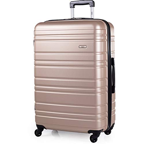 ABS Hard Shell 30 Inch Suitcase - Travel Luggage by A2B with 4 Spinner Wheels | Telescopic Drag Handle | Hard Sided Suitcases Weighing 4.3kg Cap 96L Height 76.5cm (Champagne, Large)