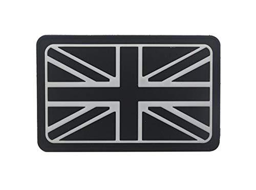 Ohrong - Parche táctico de bandera de Reino Unido con bandera de Reino Unido en 3D, insignia de goma de PVC, para gorras militares, camisas, mochilas, bolsas de EDC, color blanco y negro