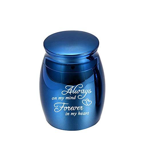 """gerFogoo Kleine Urne für menschliche Asche, """"Always in My Heart"""" Mini-Urne – mit Trichter-Set, Edelstahl-Miniatur-Gedenkurne (blau)"""