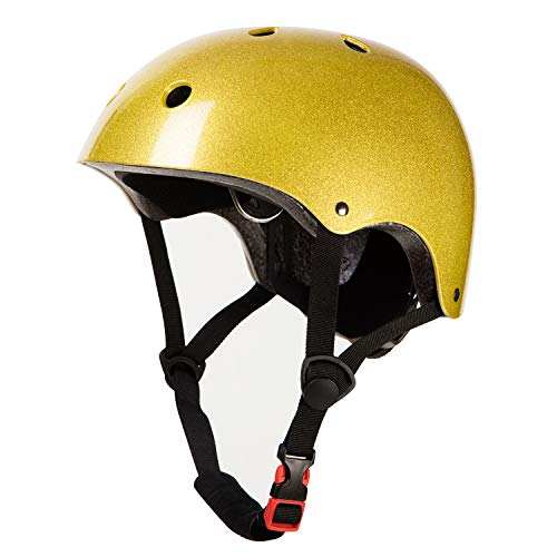 OUWOR Adult Skateboard Helmet for Men and Women CPSC Certified Lightweight Adjustable MultiSport for Cycling Skating Scooter Glossy Gold Large