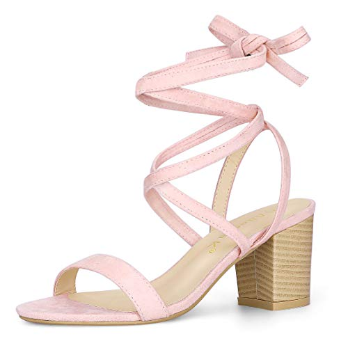 Allegra K Women's Open Toe Mid Chunky Heel Lace Up Pink Sandals - 7 M US