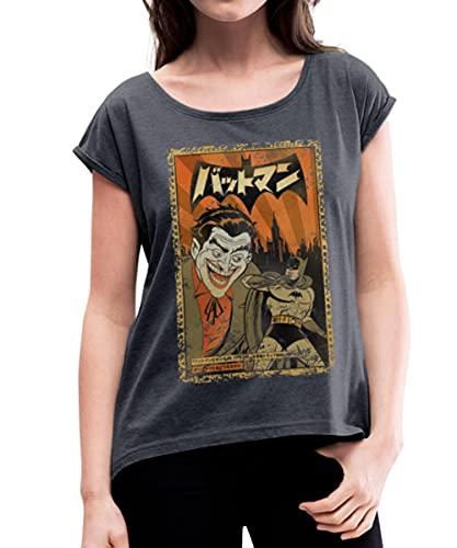 Spreadshirt DC Comics Originals Batman Joker en Japonais T-Shirt À Manches Retroussées Femme, L, Bleu Marine chiné