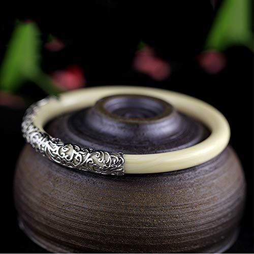 Yarmy Handgemachte Blume Resin Armband für Mädchen 100%-925 Sterling Silber Armbänder Armreifen für Vintage-Schmuck Liebe Leute