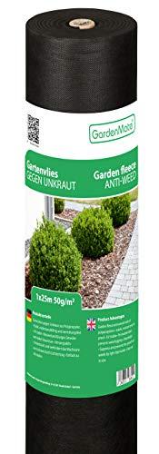 GardenMate 1m x 25m Rotolo Telo per Pacciamatura 50 g m² - Rotolo Telo Antistrappo Contro Le Erbacce - Elevata stabilizzazione ai Raggi UV - Permeabile - 1m x 25m = 25m²