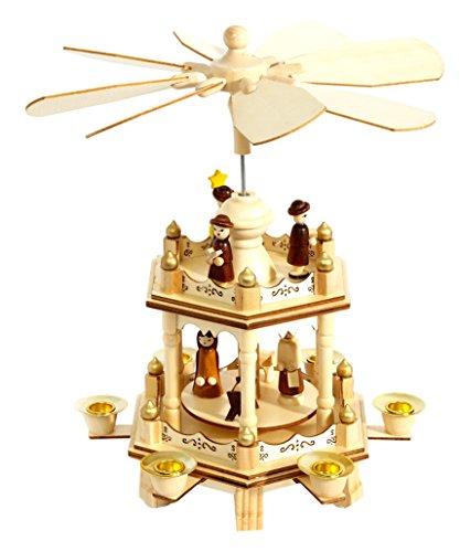 HEITMANN DECO 91263 Pyramide de Noël, 2 étages, Bois, Naturel, 17 x 17 x 29 cm