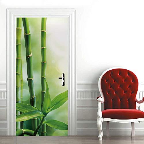 N / A Türaufkleber Türtapete Selbstklebend Grüner Bambus 3D Türaufkleber Selbstklebend Türposter Kinderzimmer Fototapete Türfolie Poster Tapete Aufkleber PVC Decoration 88 x 200 cm