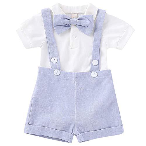 Baby Boy Clothes Gentleman Bowtie Romper and Overalls Suspenders Pants...