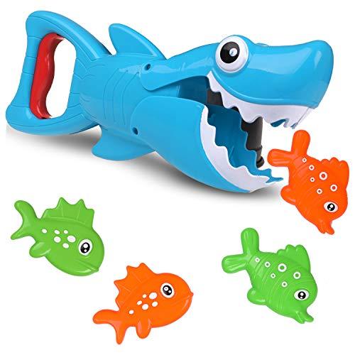 Eokeey Badespielzeug Baby, Wasserspielzeug Badewanne, Badewannen Spielzeug Kinder, Bade Spielsachen Hai mit 4 Fische für Baby und Kleinkind