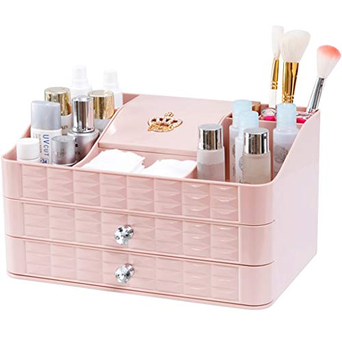 Coffres de rangement Boîte De Rangement Type De Tiroir Cosmétiques Bureau Multi-Couche De Finition Boîte À Langer Diviseurs Boîte À Maquillage Rack (Color : Pink, Size : 30 * 19 * 16.5cm)