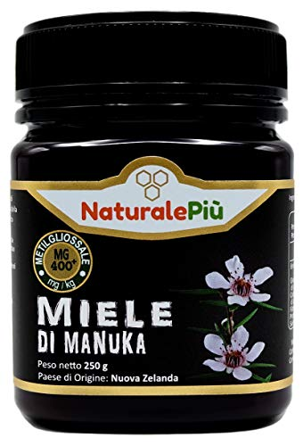 Miel de Manuka 400+ MGO 250 gr. Produit en Nouvelle-Zélande. Actif et brut, 100 % pur et naturel. Méthylglyoxal testé par des laboratoires accrédités.