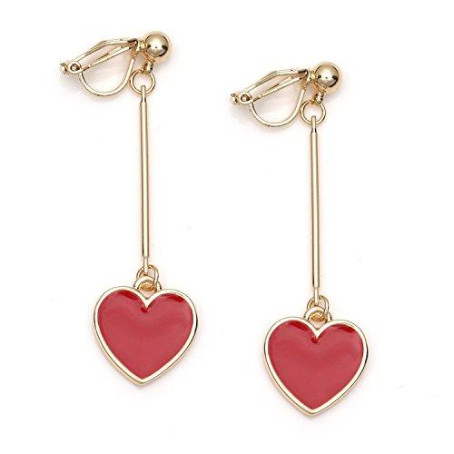 Idin Jewellery - Orecchini a clip color oro smaltato cuore rosso smalto