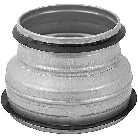 Reductor Redondo, Reductor de conductos, Reductor de tuberías de acero galvanizado (drenaje, residuos y ventilación) Acoplamiento reductor (metal con junta de goma, 10,1 a 15,2 cm)