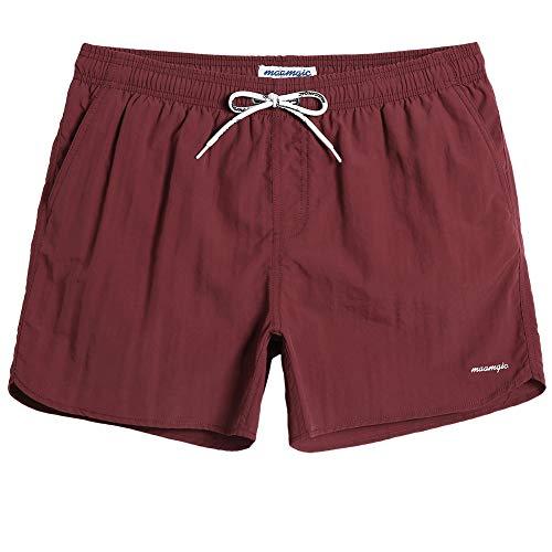 MaaMgic Pantaloncini da Bagno in Nylon da Uomo con Asciugatura Rapida per Spiaggia, Nuoto, e Vacanze al Mare, Brevemente Rosso Vino, L