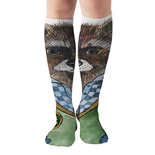 Raccoon Shirt Vest Portrait Anatomy The Arts Compression Socks Women & Men, Best Athletic & Medical Running Flight Travel Pregnant 19.68 Inch