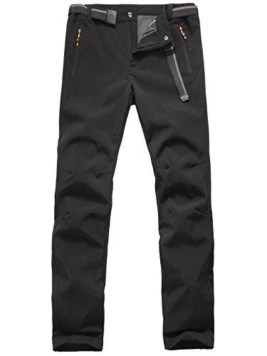 Softshellhose Herren Wasserdicht Atmungsaktive Funktionshose Wanderhose Outdoorhose Gefütterte Hose Winterhose, Stil 2:Schwarz, Gr. EU-L/Asia-2XL