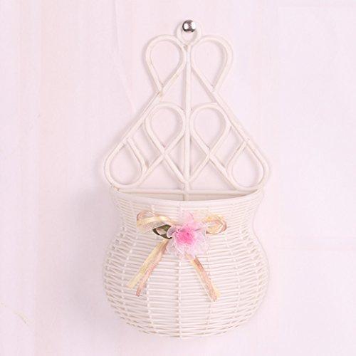 Diseño de flores Plant cesta de mimbre maceta soporte contenedor jardín colgar en la pared decoración rosa