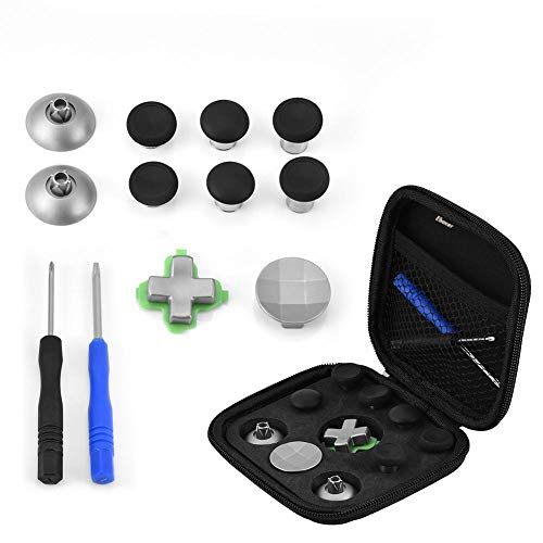 Price comparison product image 10 in 1 Metal Magnetic Thumbsticks Analog Sticks Joysticks Replacement Repair Kits with Screwdrivers & Magnetic Base & Directional Buttons & Cloth Case for PS4 / Xbox ONE Joystick