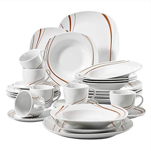 VEWEET Tafelservice 'Bonnie' aus Porzellan 30-teilig | Kombiservice beinhaltet 6 175ml Kaffeetassen, 6 Untertasse, 6 Dessertteller, 6 Speiseteller und 6 Suppenteller| Komplettservice für 6 Personen