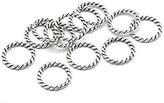 50 Silver Tone Jump Rings 15mm 12 Max 89% OFF Braided Minneapolis Mall Texture - Closed Gauge