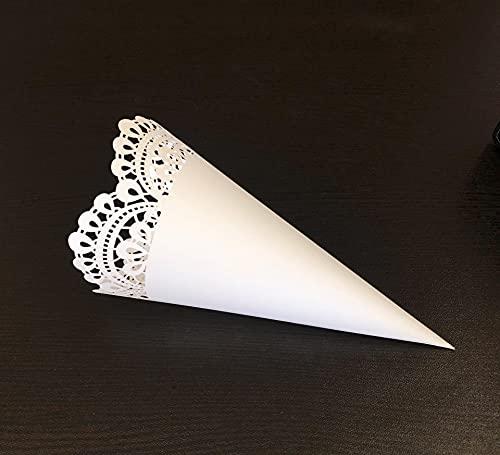 iKesoce 50 Pezzi Coni Portariso Bianco Portaconfetti Scatoline Bomboniere Coni di Coriandoli per Matrimonio Nozze